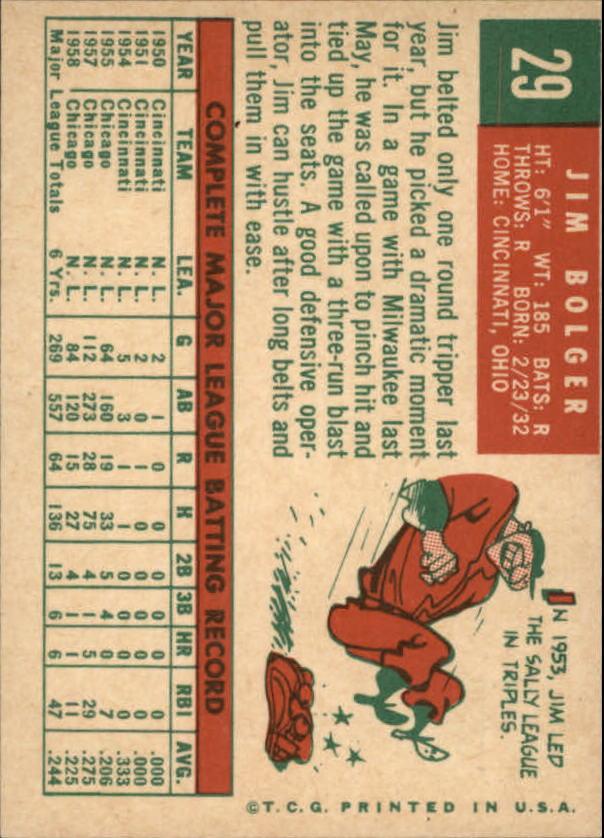 1959 Topps #29 Jim Bolger back image