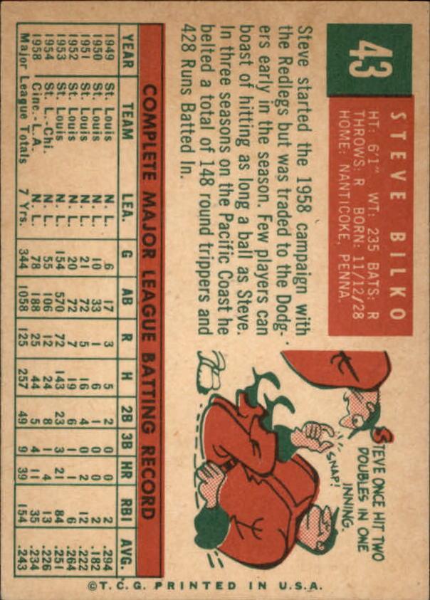1959 Topps #43 Steve Bilko back image