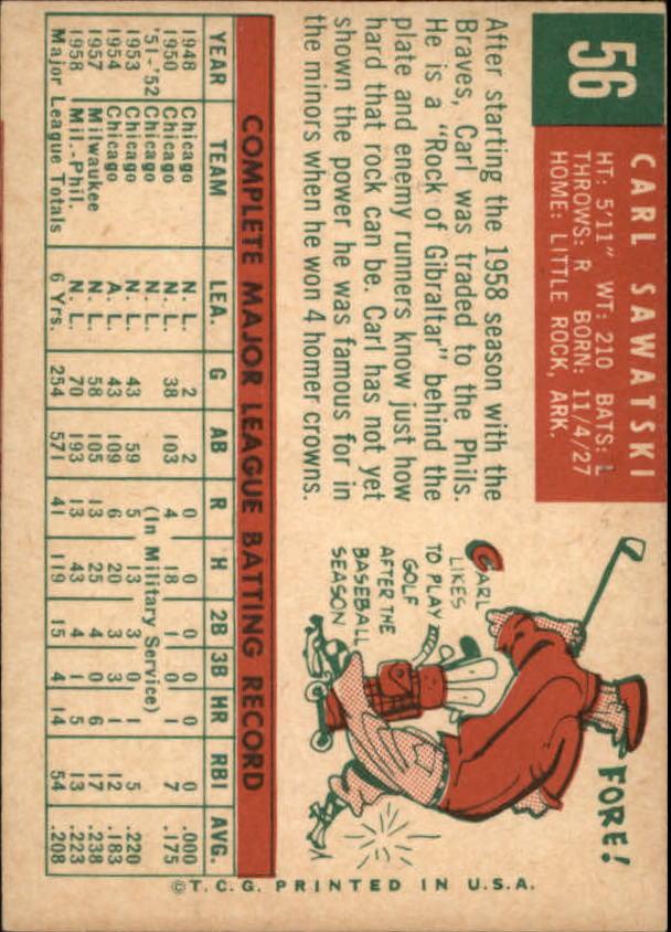 1959 Topps #56 Carl Sawatski back image