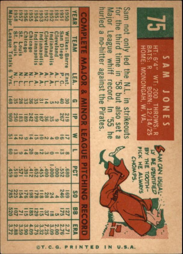 1959 Topps #75 Sam Jones back image