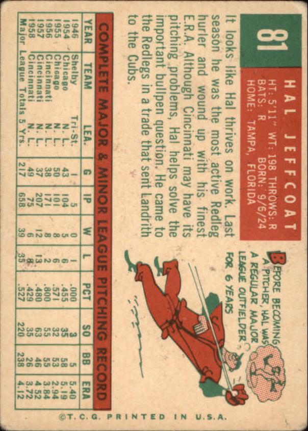 1959 Topps #81 Hal Jeffcoat back image