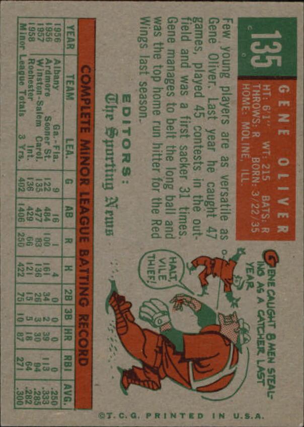 1959 Topps #135 Gene Oliver RS RC back image