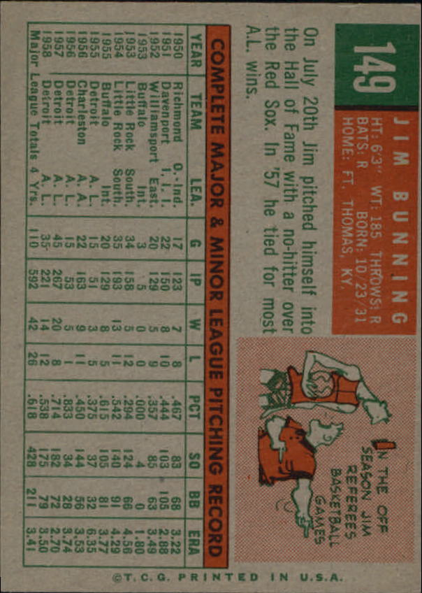 1959 Topps #149 Jim Bunning back image