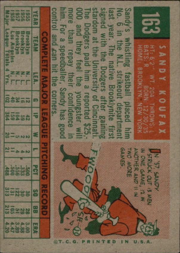 1959 Topps #163 Sandy Koufax back image