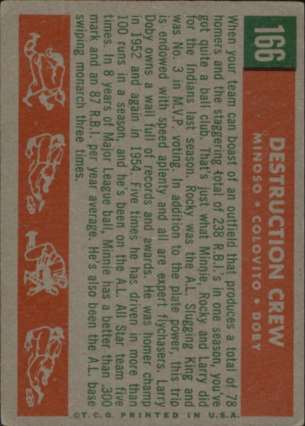 1959 Topps #166 Destruction Crew/Minnie Minoso/Rocky Colavito UER/Misspelled Colovito/on card back/Larry Doby back image