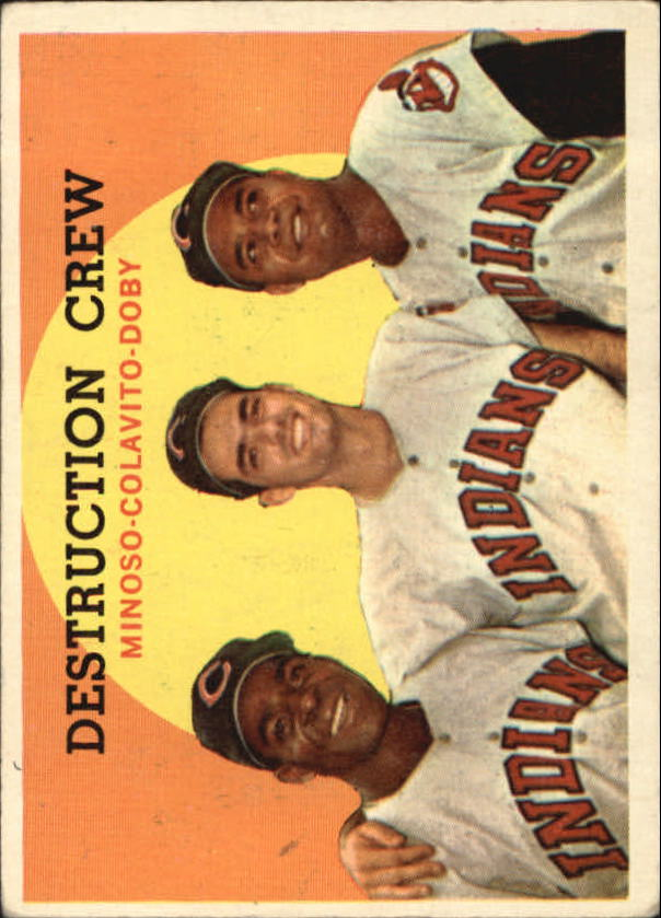 1959 Topps #166 Destruction Crew/Minnie Minoso/Rocky Colavito UER/Misspelled Colovito/on card back/Larry Doby