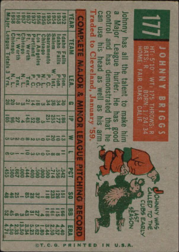 1959 Topps #177 John Briggs RC back image