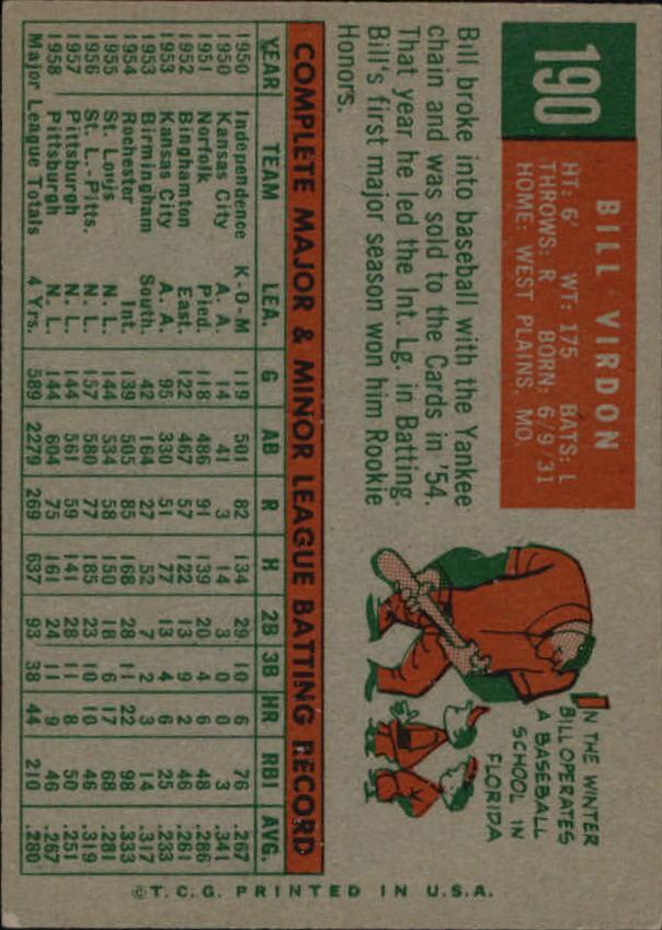 1959 Topps #190 Bill Virdon back image