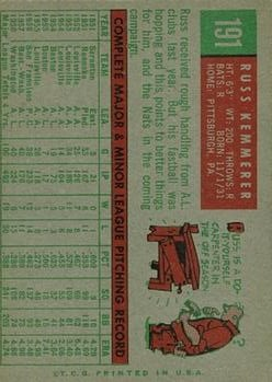1959 Topps #191 Russ Kemmerer back image