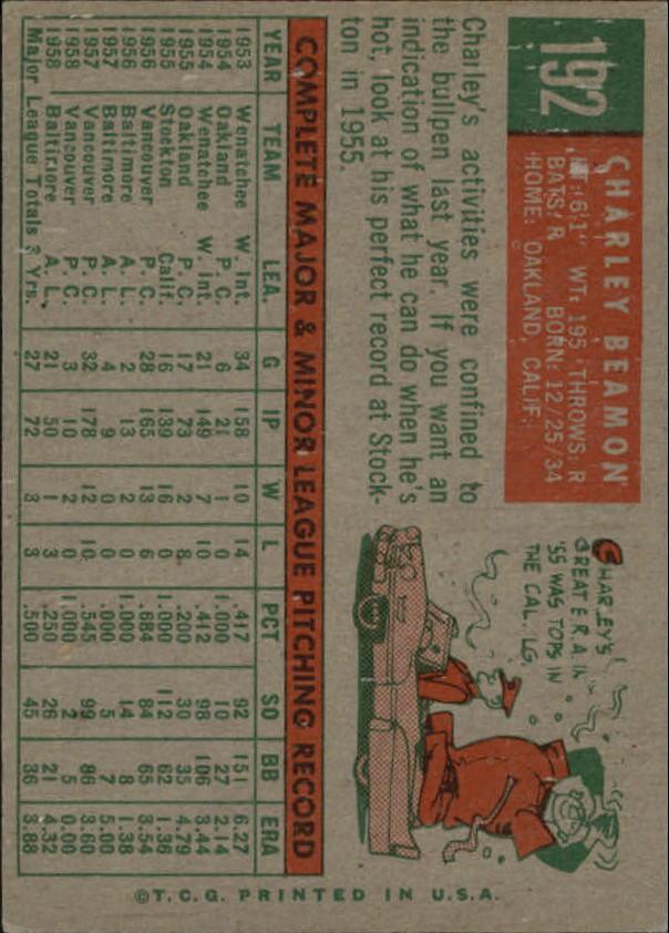 1959 Topps #192 Charlie Beamon RC back image