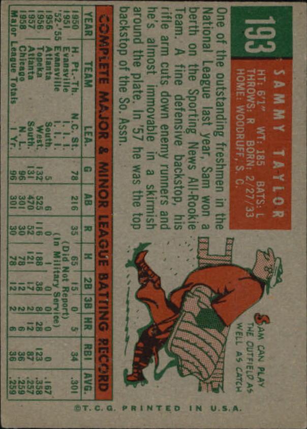 1959 Topps #193 Sammy Taylor back image
