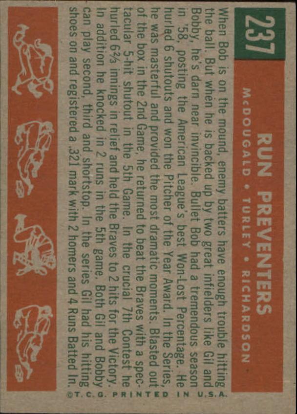 1959 Topps #237 Run Preventers/Gil McDougald/Bob Turley/Bobby Richardson back image
