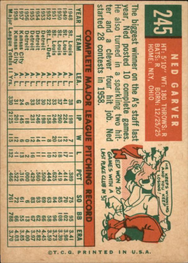 1959 Topps #245A Ned Garver GB back image