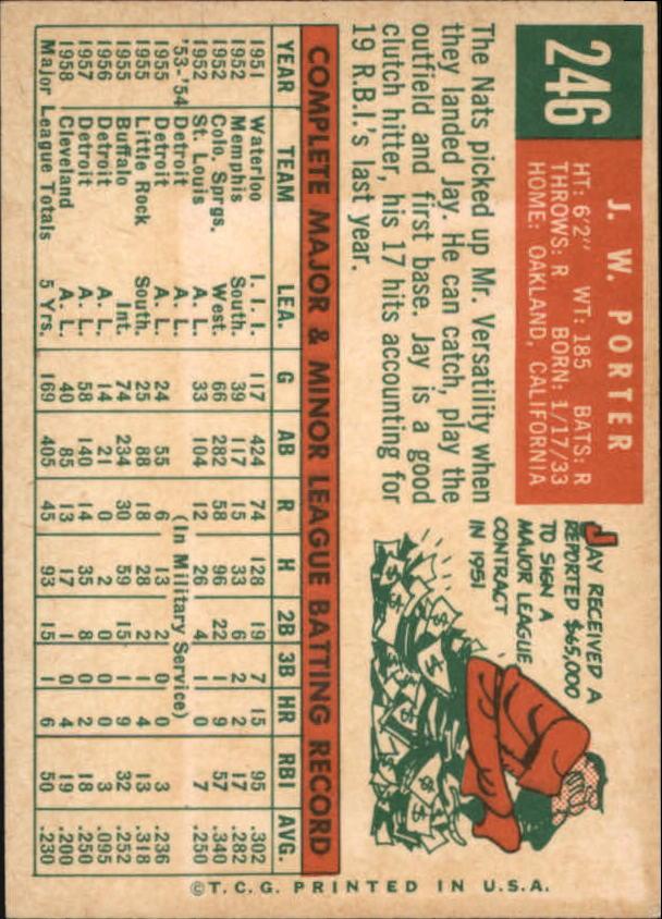 1959 Topps #246 J.W. Porter back image