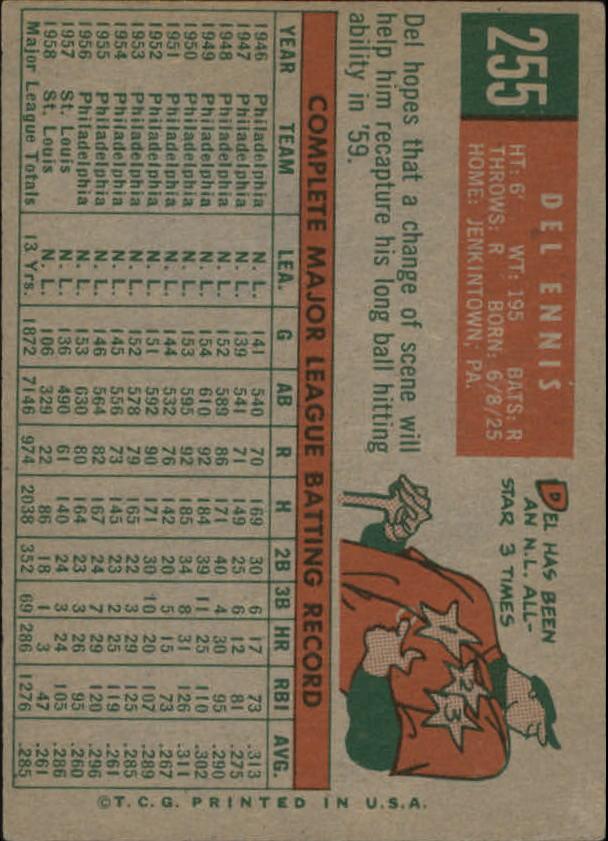 1959 Topps #255 Del Ennis back image