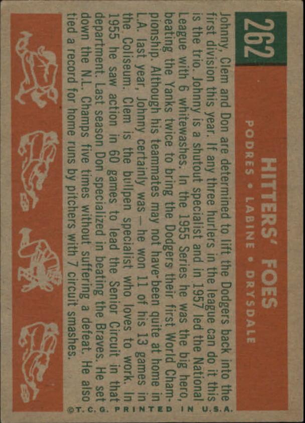 1959 Topps #262 Hitters Foes/Johnny Podres/Clem Labine/Don Drysdale back image