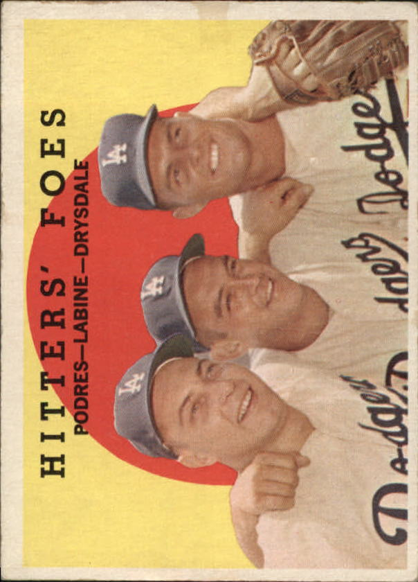 1959 Topps #262 Hitters Foes/Johnny Podres/Clem Labine/Don Drysdale