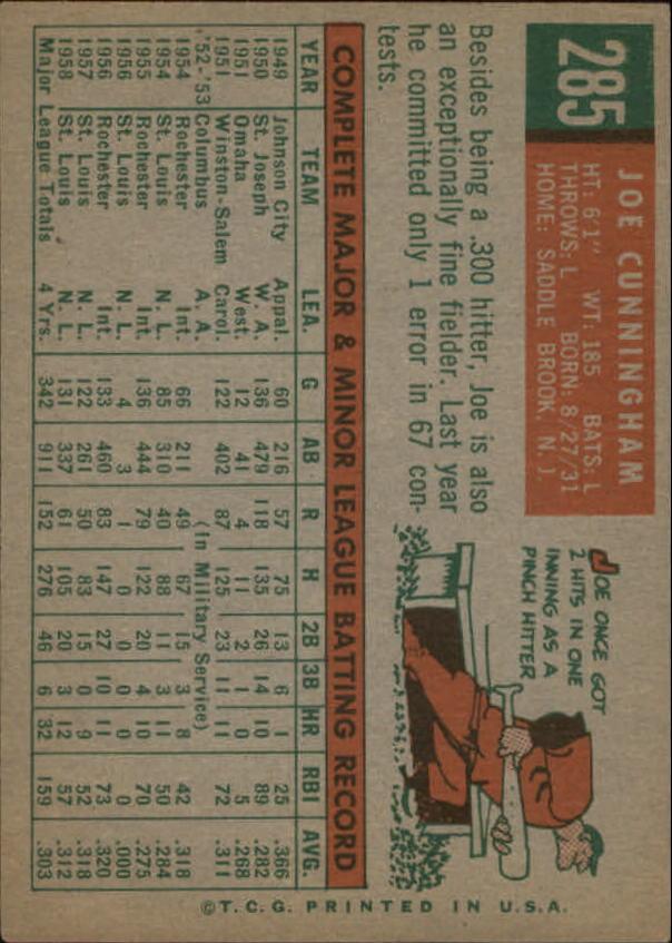 1959 Topps #285 Joe Cunningham back image