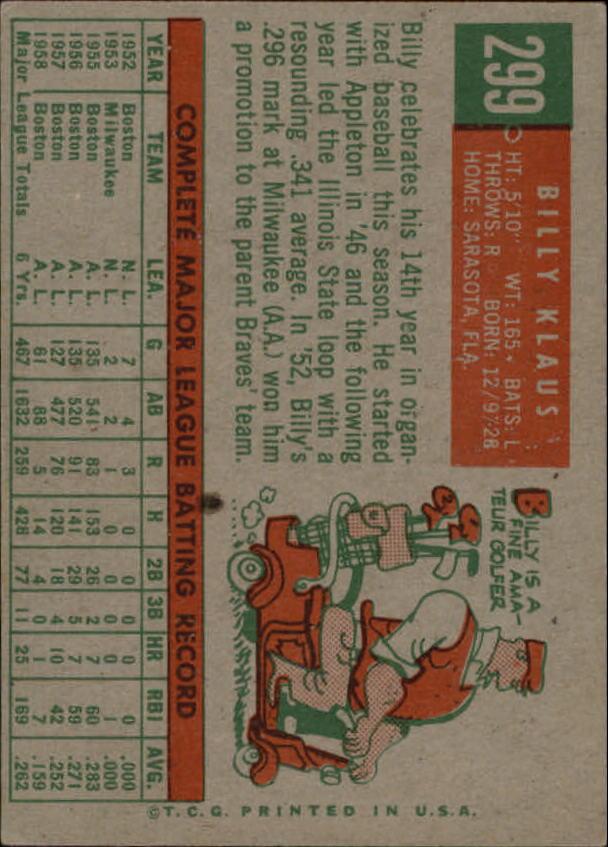 1959 Topps #299 Billy Klaus back image