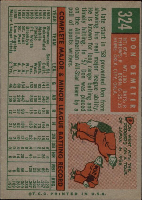 1959 Topps #324 Don Demeter back image