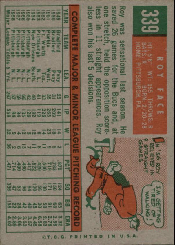 1959 Topps #339 Roy Face back image