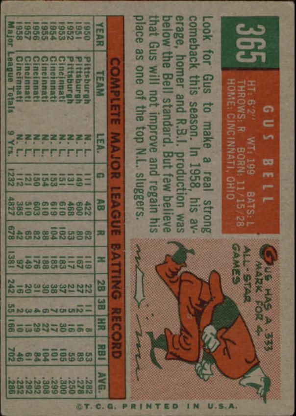1959 Topps #365 Gus Bell back image