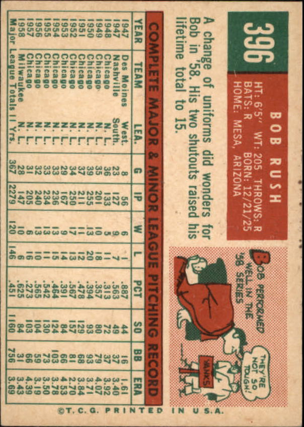 1959 Topps #396 Bob Rush back image