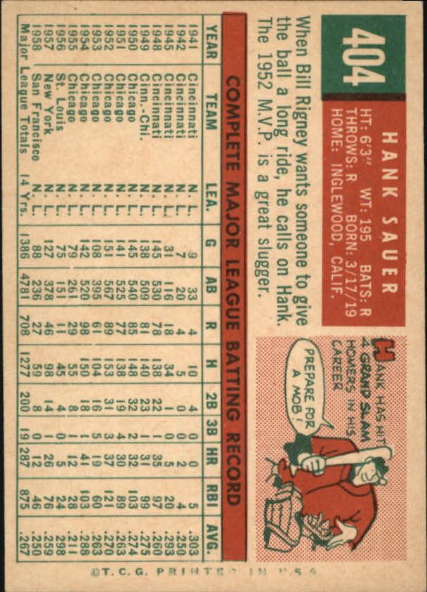 1959 Topps #404 Hank Sauer back image