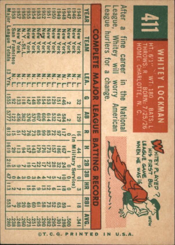 1959 Topps #411 Whitey Lockman back image