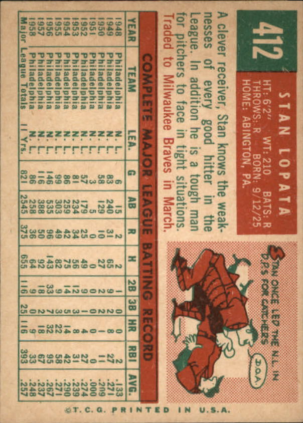 1959 Topps #412 Stan Lopata back image