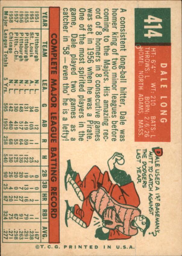 1959 Topps #414 Dale Long back image