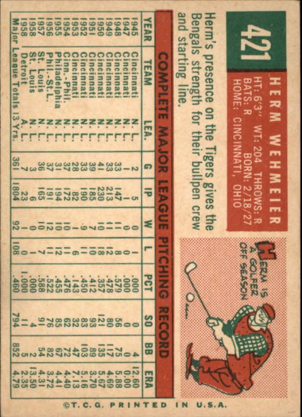 1959 Topps #421 Herman Wehmeier back image