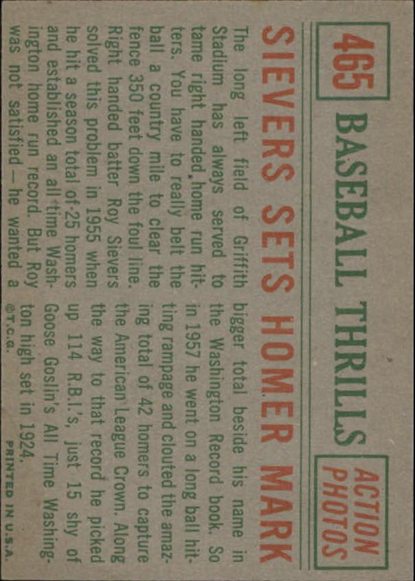 1959 Topps #465 Roy Sievers BT/Homer Mark back image
