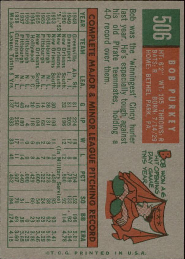 1959 Topps #506 Bob Purkey back image