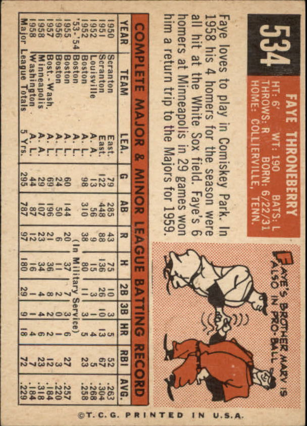 1959 Topps #534 Faye Throneberry back image