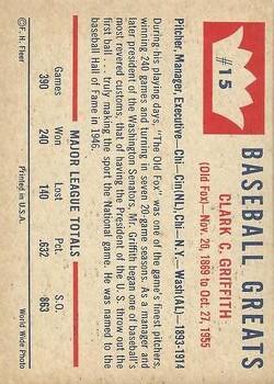 1960 Fleer #15 Clark Griffith back image