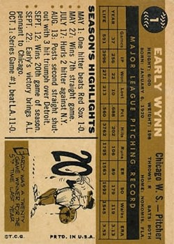 1960 Topps #1 Early Wynn back image