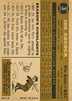 1960 Topps #3 Joe Adcock back image