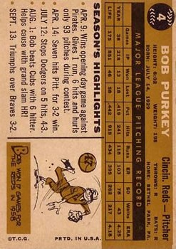 1960 Topps #4 Bob Purkey back image