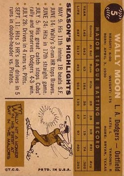 1960 Topps #5 Wally Moon back image