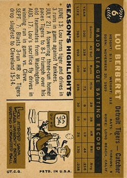 1960 Topps #6 Lou Berberet back image