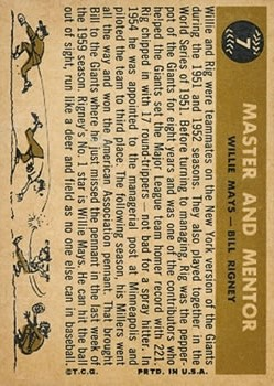 1960 Topps #7 Master and Mentor/Willie Mays/Bill Rigney MG back image