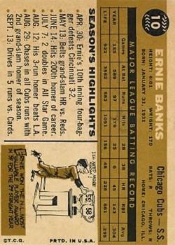 1960 Topps #10 Ernie Banks back image