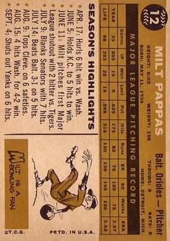 1960 Topps #12 Milt Pappas back image