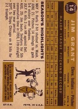 1960 Topps #14 Jim Grant back image