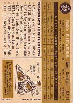 1960 Topps #25 Roy Sievers back image