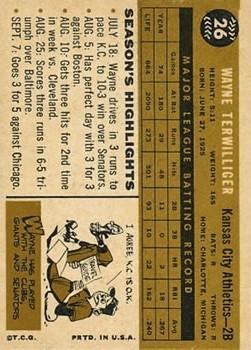 1960 Topps #26 Wayne Terwilliger back image