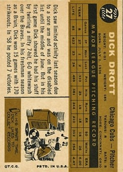 1960 Topps #27 Dick Drott back image