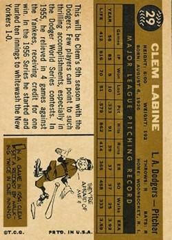 1960 Topps #29 Clem Labine back image