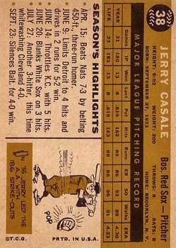 1960 Topps #38 Jerry Casale back image